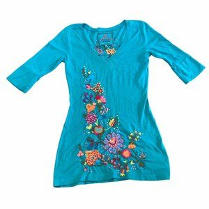 JWLA Johnny Was Floral Embroidered Tunic Dress